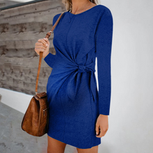 Load image into Gallery viewer, Maternity Fashion Round Neck Pure Colour Belted Dress