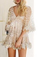 Load image into Gallery viewer, Maternity Commuting V Neck Lace Polka Dot Dress