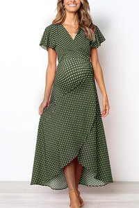 Maternity V-Neck Polka Dots Asymmetrical Long Dress