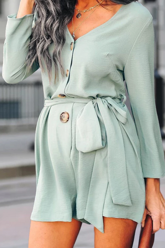 Maternity Pure Color Long Sleeve V Neck Romper