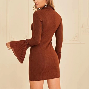 Maternity Turtleneck Bell Sleeve Pure Color Bodycon Dress