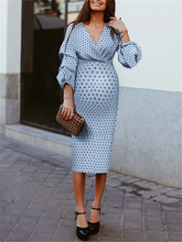 Load image into Gallery viewer, Fashion V-neck Polka Dot Lantern Sleeve Midi Dress
