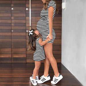 Mom Girl Stripes Matching Bodycon Dress