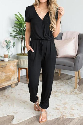 Maternity Plain V-Neck Casual Jumpsuits