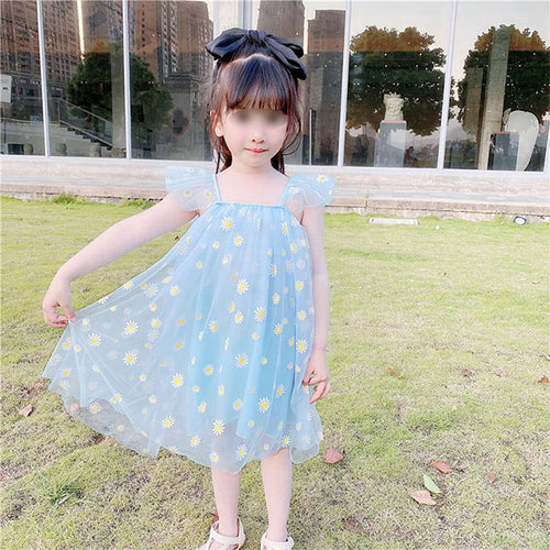 Girls Daisy Print Mesh Dress