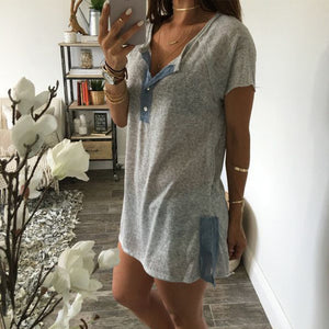 Maternity Fashion Casual Solid Color Short Sleeve Button T-Shirts