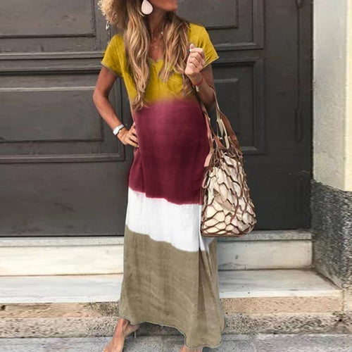 Maternity dress with v-neck simple loose dress