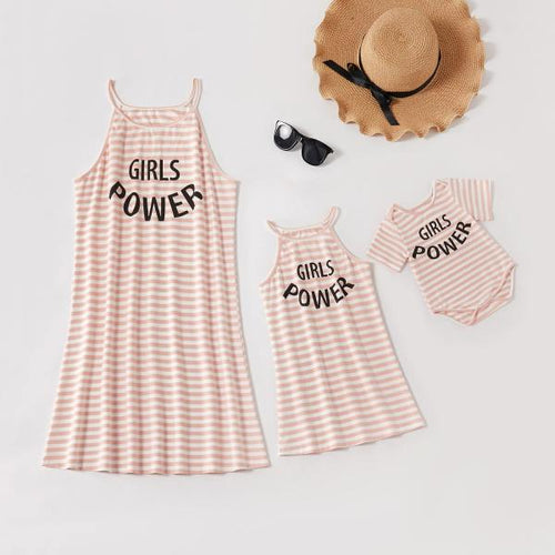 Mom girl striped letter print dress