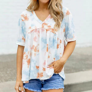 Fashion - loose tie dye women's T - shirt with pullover v-neck