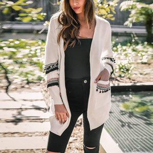Maternity Fashion Splicing Long Sleeve Long Cardigan