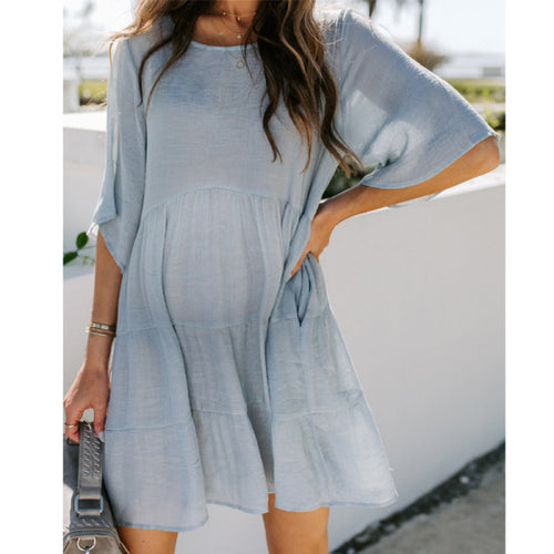 Maternity Tiered Pocketed Tunic Dress