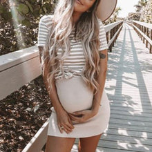 Load image into Gallery viewer, Maternity Fashion High Collar Short Sleeve Stripe Dress