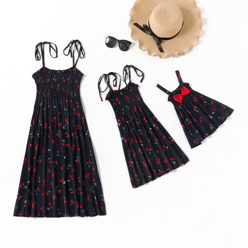 Mom girl cherry print suspender dress