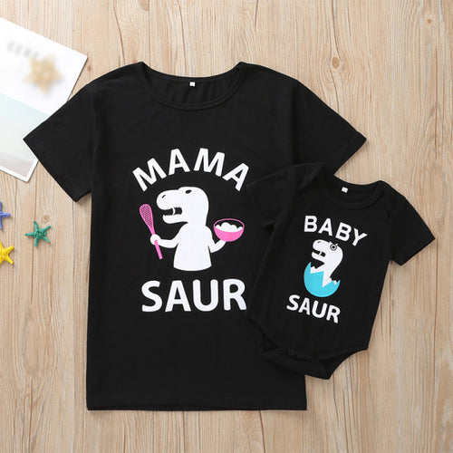 Mom Girl Cartoon Dinosaur Print Short-Sleeved Matching T-Shirt