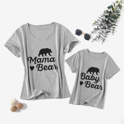 Mom Girl Bear Pattern Short-sleeve T shirts