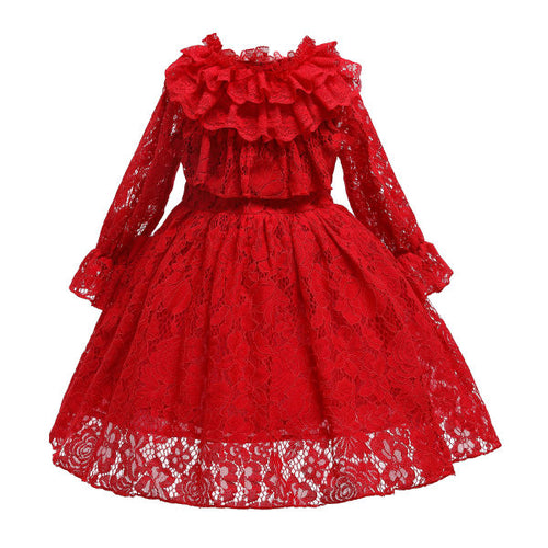 Red Lace Long Sleeve Pprincess Dress