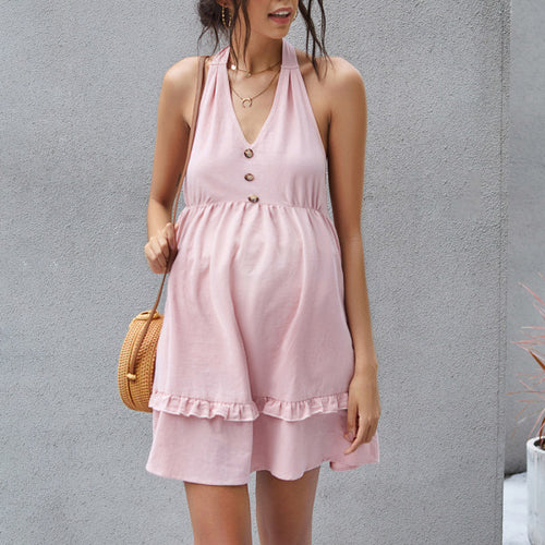 Maternity Pink Fungus Hanging Neck Backless Short Dresses