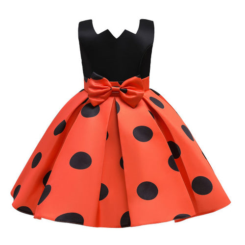 Halloween Polka Dot Print Orange Sleeveless Princess Dress
