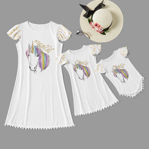Mom girl unicorn print short sleeve dress