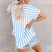Load image into Gallery viewer, Maternity Striped V-Neckline Shirt