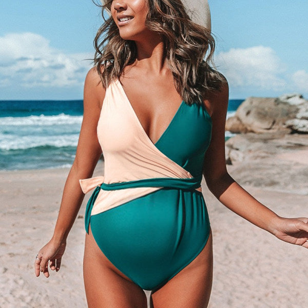 Maternity Two Toned One-Piece With Belt Swimsuit