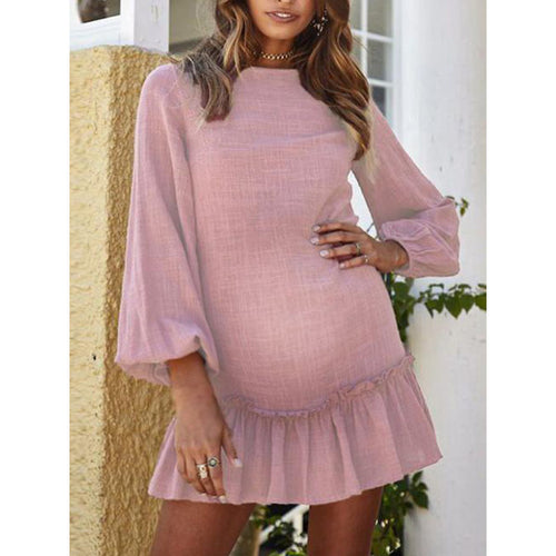 Maternity Vacation Long Sleeve Pleated Loose Dress