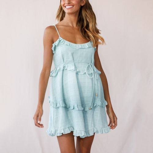 Maternity Frill Trim Strap Mini Dress