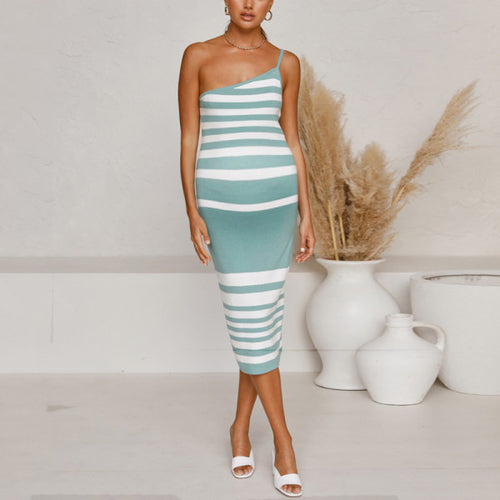 Maternity Stripe Knit Midi Dress