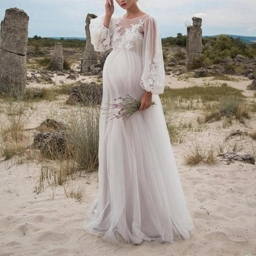 Maternity lace embroidered dress