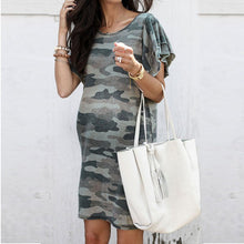 Load image into Gallery viewer, Maternity Camo Puff Sleeve Dress