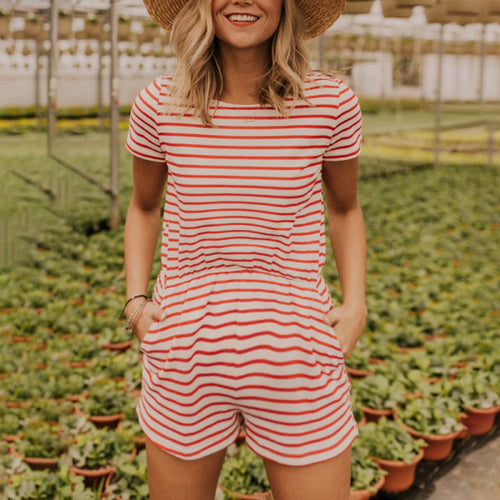Maternity Casual Striped Romper