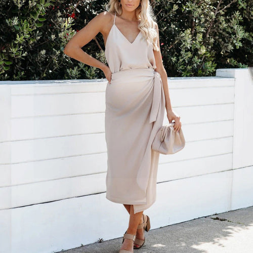 Maternity Tie Belt Midi Dress
