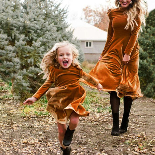 Mom Girl Casual Round Neck Long Sleeve Pure Colour Loose Dress