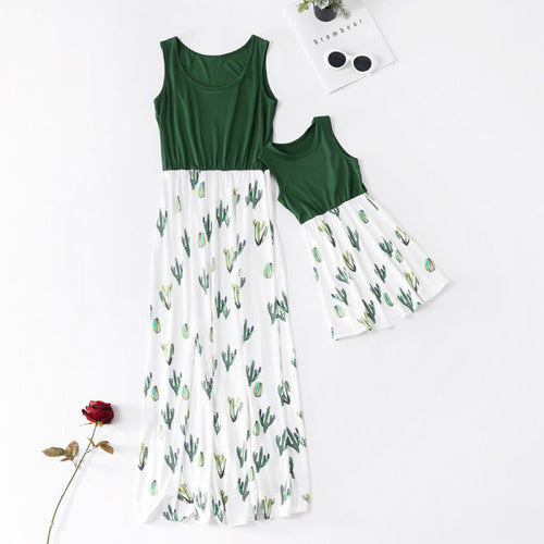 Mom Girl Cactus Printed Long Matching Dresses