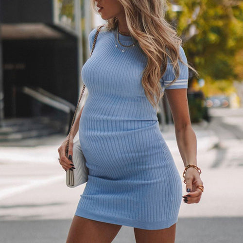Maternity Solid Color Knitted Round Neck Short Sleeve Dress