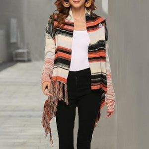 Maternity Bohemian Fringed Sweater Knit Shawl