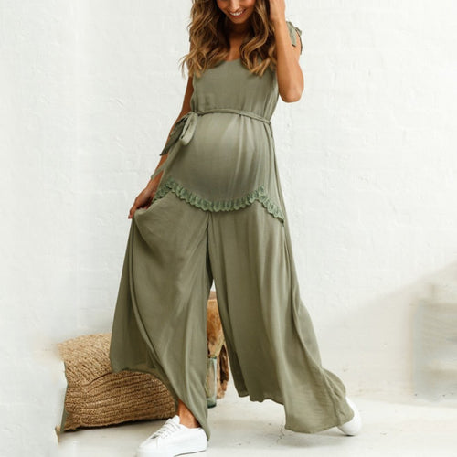 Maternity Strap Wide Leg Loose Jumpsuit