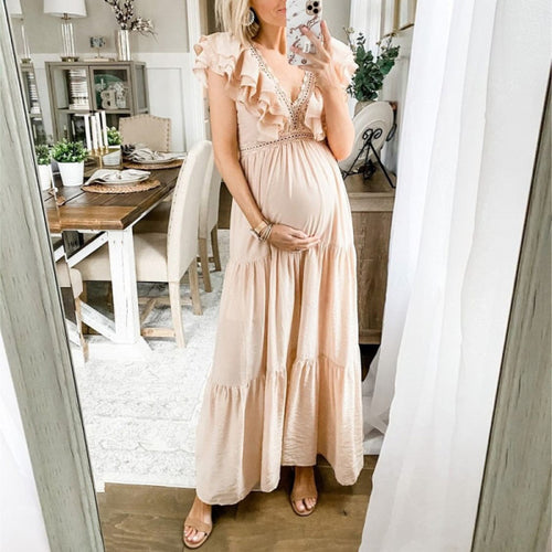 Maternity V-Neckline Ruffle Maxi Dress