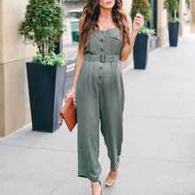 Load image into Gallery viewer, Maternity Bordeaux Button Down Belted Jumpsuit