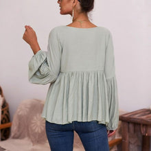 Load image into Gallery viewer, Maternity Long Sleeve Patchwork Pleated Casual Blouse