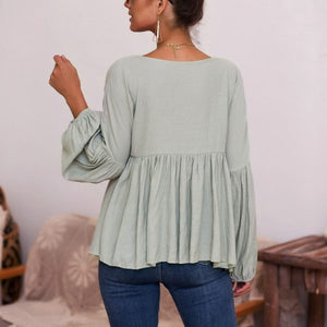 Maternity Long Sleeve Patchwork Pleated Casual Blouse