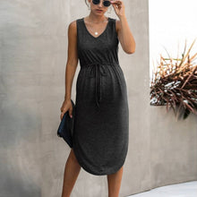 Load image into Gallery viewer, Maternity Sleeveless Drawstring V Neck Casual Dress