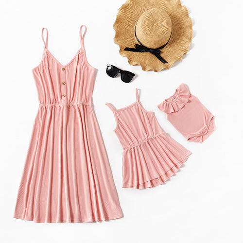 Mom girl solid color suspender dress
