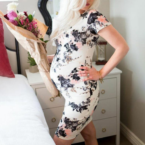 Maternity Floral Print White Short Sleeve Short Dress