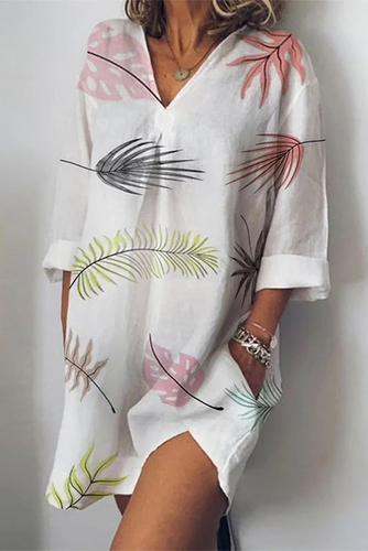 Maternity Casual V-Collar Printed Loose Casual Dress