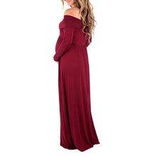 Load image into Gallery viewer, Maternity Off Shoulder Long Sleeve Full Length Maxi Dress