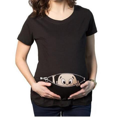 Casual Simple Cute Baby Print Maternity T-Shirts