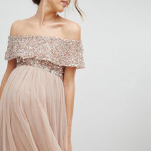 Load image into Gallery viewer, Maternity Off Shoulder Maxi Tulle Dress With Tonal Delicate Sequins
