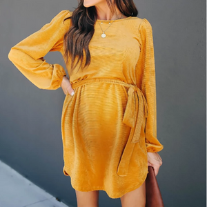 Maternity Fashionable Round Neck Casual Dress