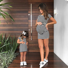 Load image into Gallery viewer, Mom Girl Stripes Matching Bodycon Dress